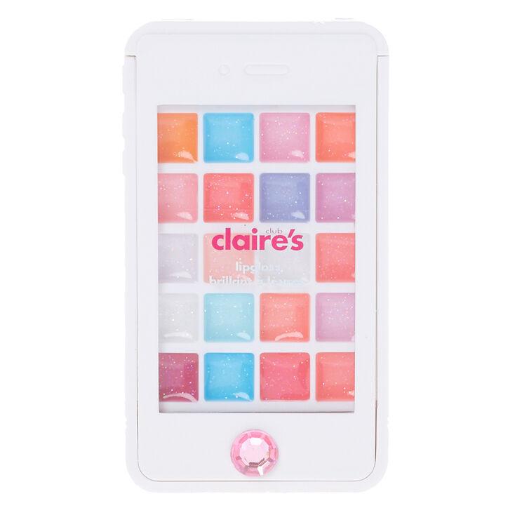 Coffret de gloss étincelant coque de portable motif lapin éblouissant pour enfants,