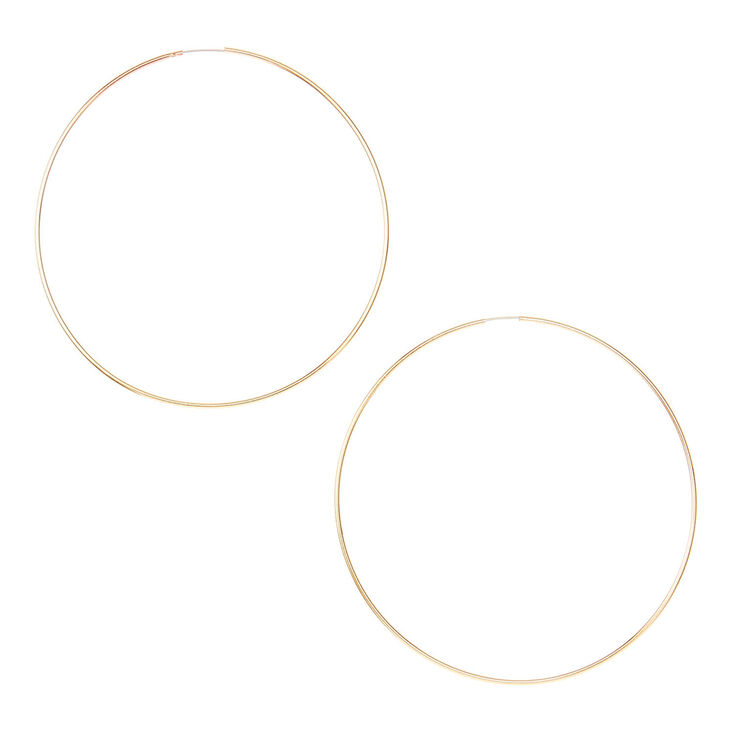 60MM Gold Wire Hoop Earrings | Claire\'s US
