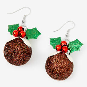 "Silver 1.5"" Christmas Pudding Drop Earrings,"