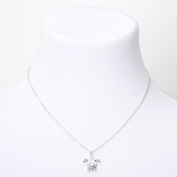 Silver Origami Turtle Pendant Necklace,