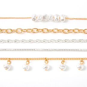 Mixed Metal Fresh Pearl Chain Choker Necklaces - 5 Pack,