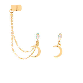 Gold Opal Moon Connector Earrings,