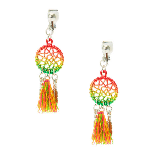 Claire's - rainbow tassel dreamcatcher clip on earrings - 1