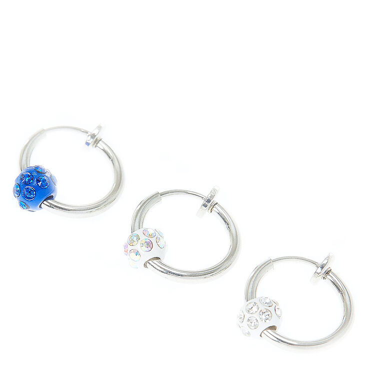 Faux Glitter Beaded Hoop Cartilage Earrings   Claire's US