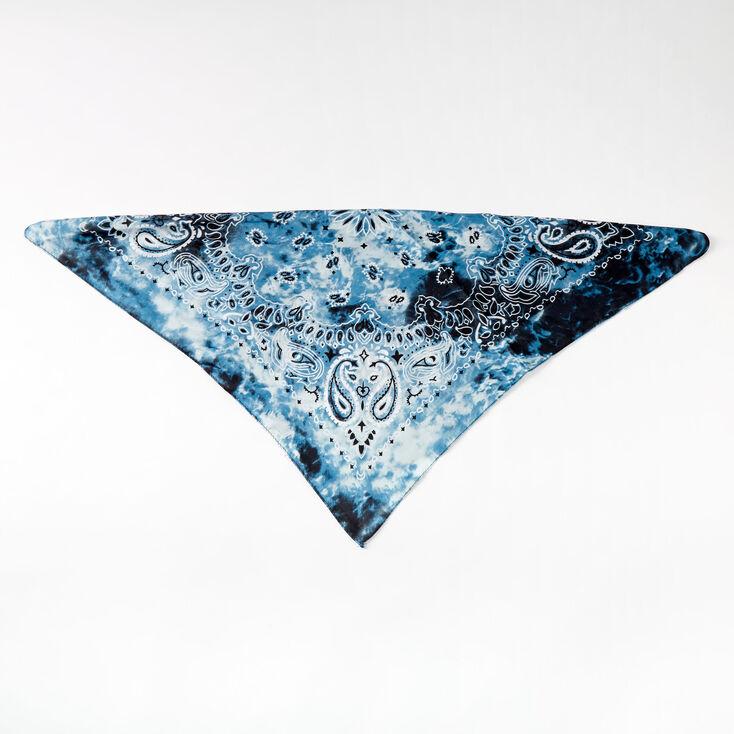 Silky Tie Dye Bandana Headwrap - Blue,