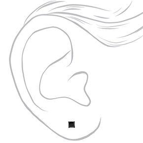 Clous d'oreilles carrés 5mm couleur hématite avec zircon cubique d'imitation en argent - Noir,