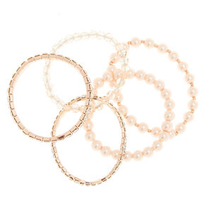 Rose Gold Pearl Stretch Bracelets - 5 Pack,