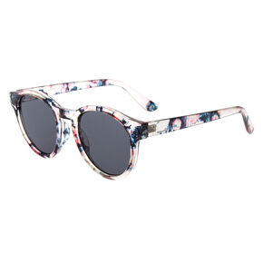 Floral Print Sunglasses - Clear,