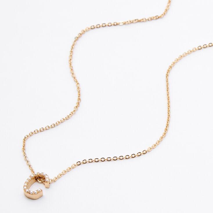 Gold Mini Pearl Initial Pendant Necklace - C,
