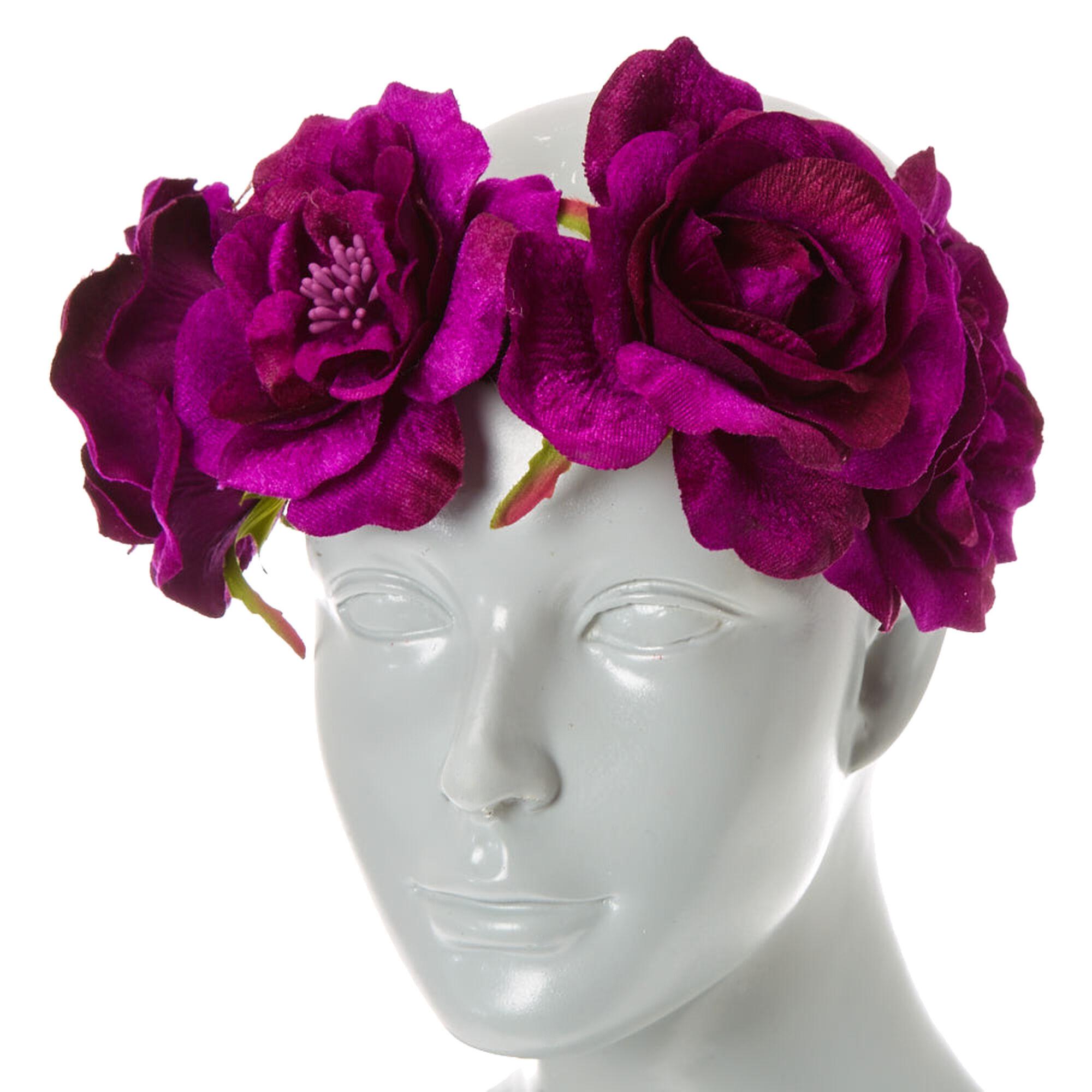 Purple Velvet Flower Crown Headwrap Claires