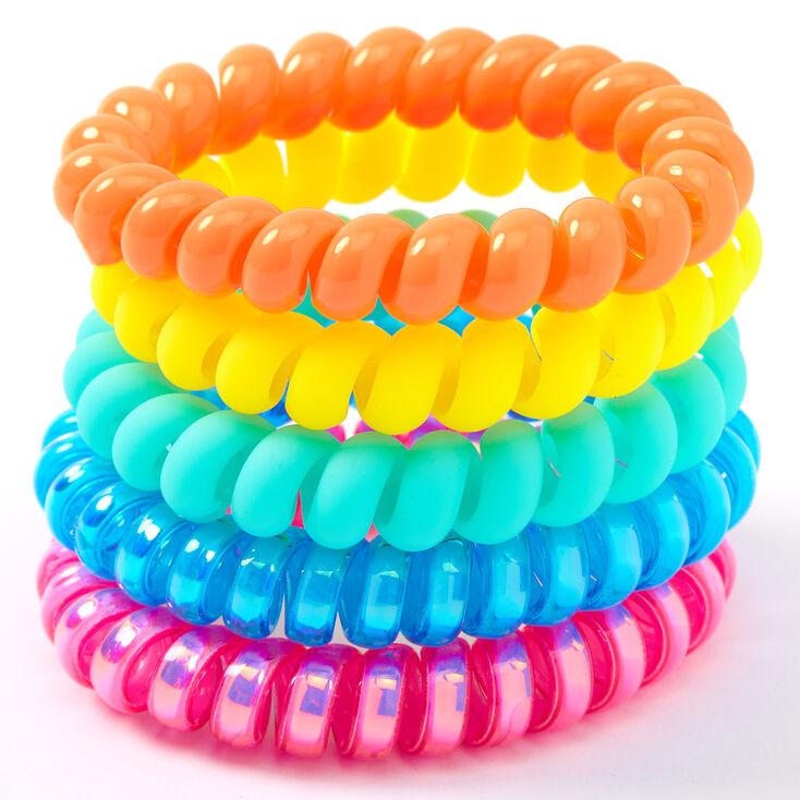Claire's Club Neon Holographic Matte Coil Bracelets - 5 Pack,