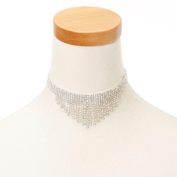 Collier ras-du-cou avec frange en strass étincelant  23ae1bcf18c