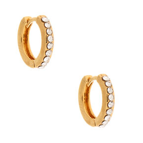 18kt Gold Plated 10MM Embellished Huggie Hoop Earrings,