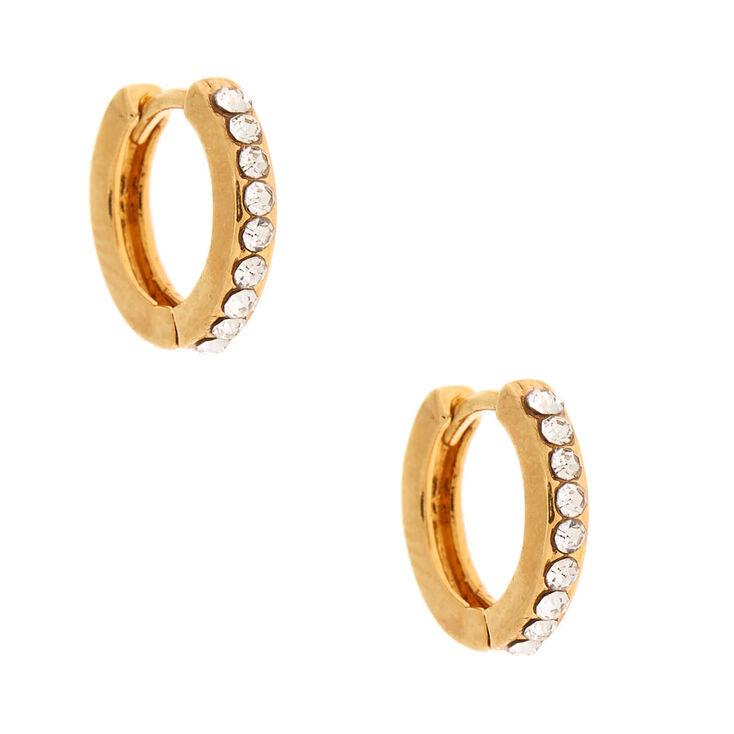 18ct Gold Plated 10MM Embellished Huggie Hoop Earrings,
