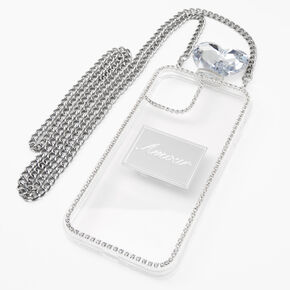 Silver Rhinestone Phone Case With Chain - Fits iPhone 12/12 Pro,
