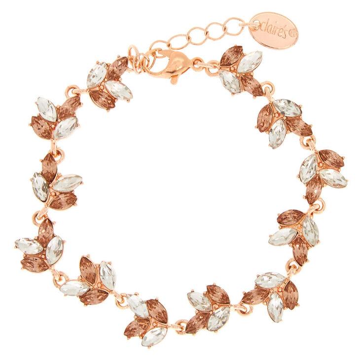 Rose Gold Tone Gl Rhinestone Leaf Bracelet