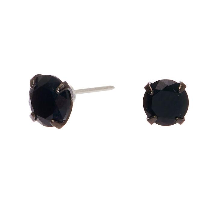 Sterling Silver Cubic Zirconia Hematite Round Stud Earrings - Black, 5MM,