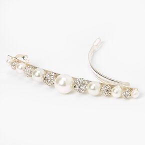Barrette à perles d'imitation et strass couleur argentée,