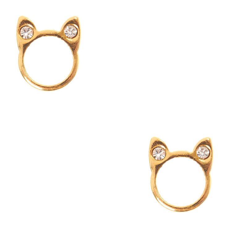 18kt Gold Plated Open Cat Stud Earrings,