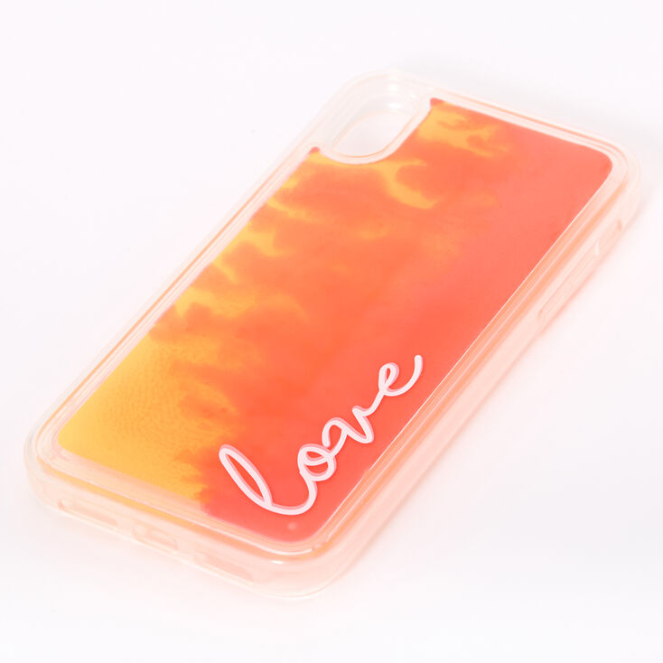 Love Neon Sand Liquid Fill Phone Case - Fits iPhone XR,
