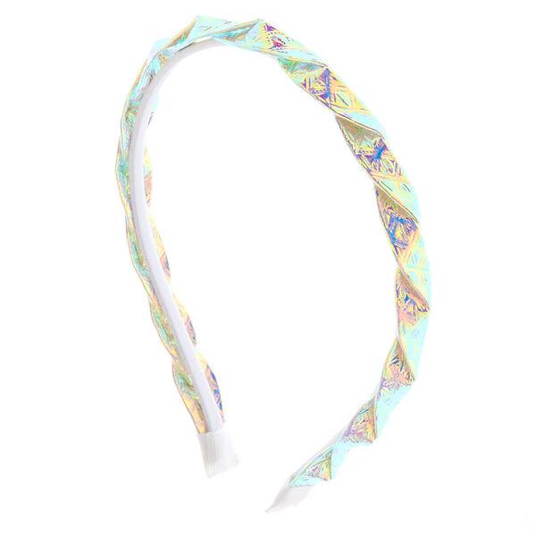 Claire's - Serre-tête torsadé blanc holographique - 1