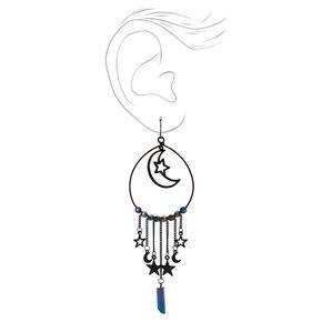 """Black 4.5"""" Celestial Crystal Hoop Drop Earrings,"""