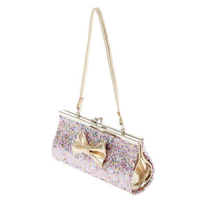 Claire's Club Glitter Bow Clutch Purse - Gold,
