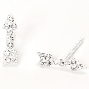 Sterling Silver Crystal Arrow Stud Earrings,