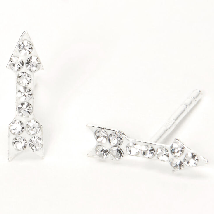 Sterling Silver Crystal Arrow Stud Earrings,