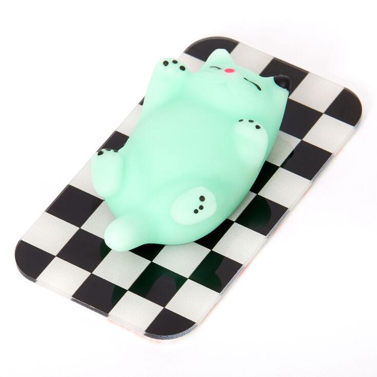 Squish Mint Cat Checkered Gummy Phone Sticker,