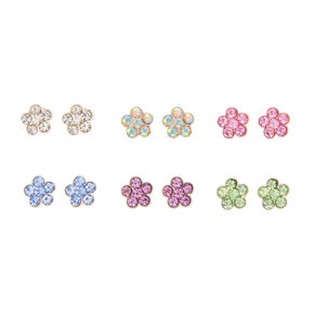 Pastel Floral Magnetic Stud Earrings - 6 Pack,