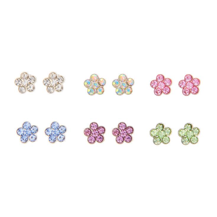 Pastel Floral Magnetic Stud Earrings - 6 Pack,