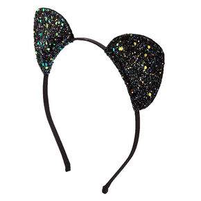 Black Glitter Cat Ears Headband c97509541626