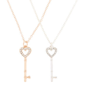 Mixed Metal Best Friends Key Pendant Necklaces - 2 Pack,