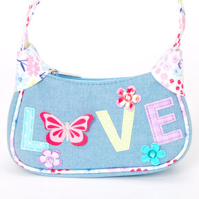 Claire's Club Floral Butterfly Denim Handbag - Blue,