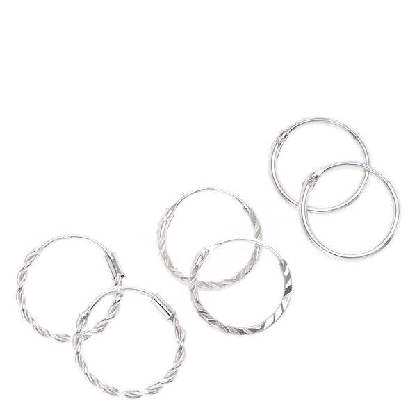 Claire's - sterling 12mm textured hoop earrings - 1