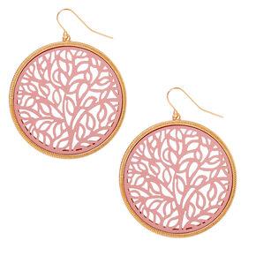 "Gold 2"" Filigree Circle Drop Earrings - Pink,"