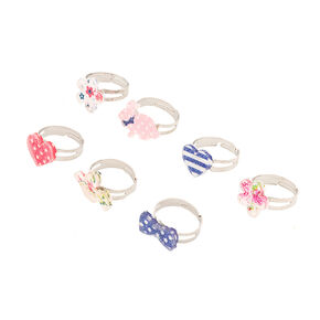 Claire's Club Ditsy Flower Rings - 7 Pack,