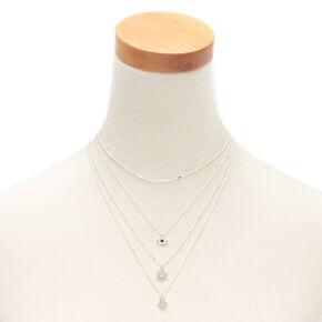 Silver Evil Eye Hamsa Multi Strand Necklace,