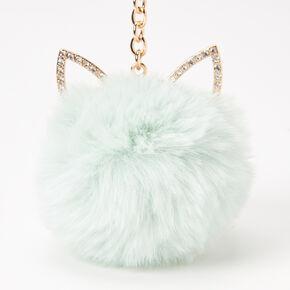 Cat Pom Keychain - Mint,
