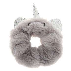 Medium Faux Fur Unicorn Cat Hair Scrunchie - Gray,