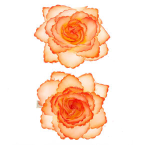 Glitter Flower Hair Clips - Orange, 2 Pack,