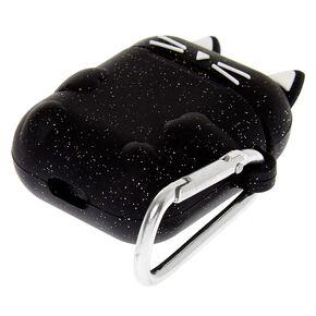 Étui pour écouteurs en silicone chat noir pailleté - Compatible avec les Airpods® Apple,