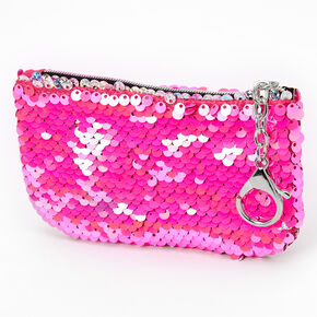 Reversible Sequin Holographic Zip Coin Purse - Pink,