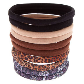 Animal Print Rolled Hair Bobbles - Brown, 10 Pack,