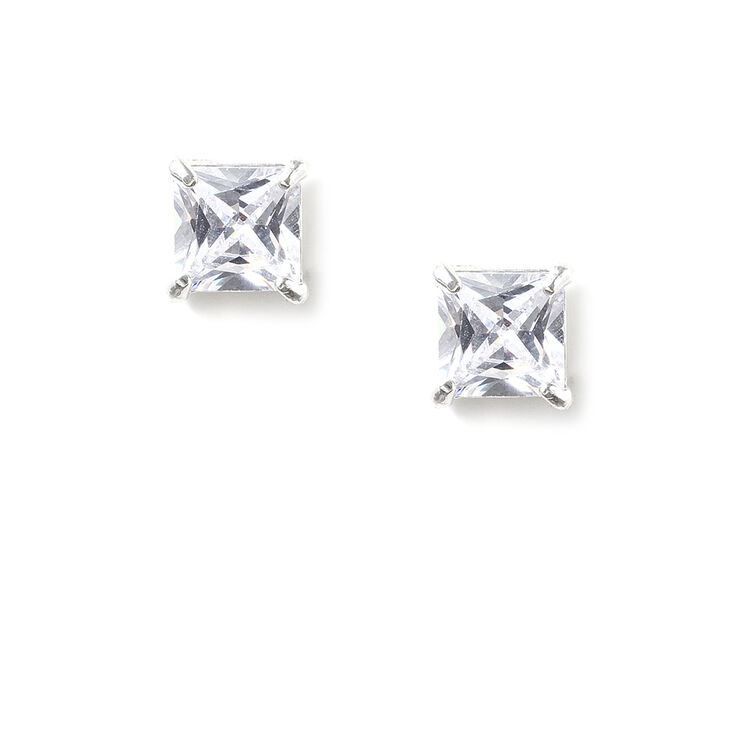 7mm Sterling Silver Cubic Zirconia Square Stud Earrings