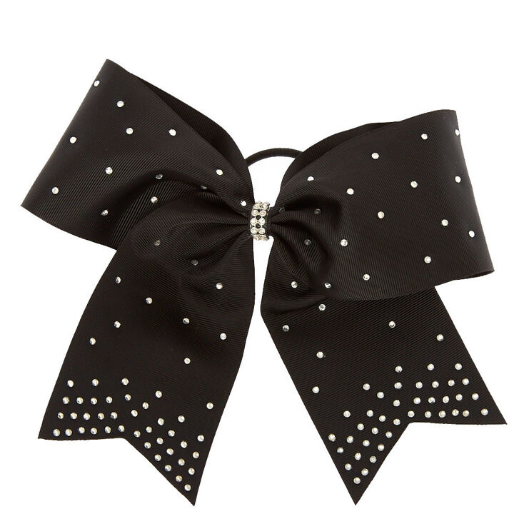 Black Rhinestone Cheer Bow Hair Tie,