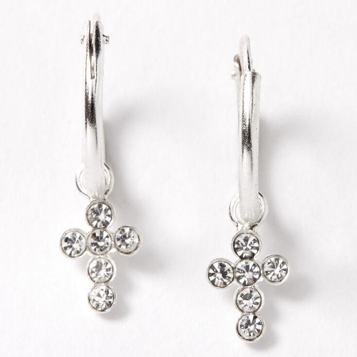 Sterling Silver 10MM Cross Charm Huggie Hoop Earrings,