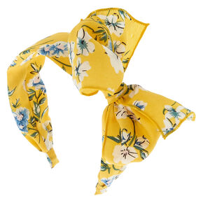 Floral Floppy Bow Headband - Yellow,
