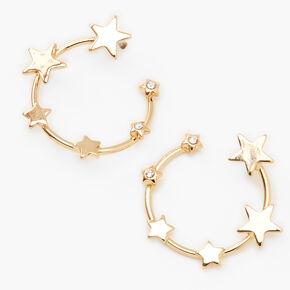 "Gold 1.5"" Embellished Star Circular Drop Earrings,"